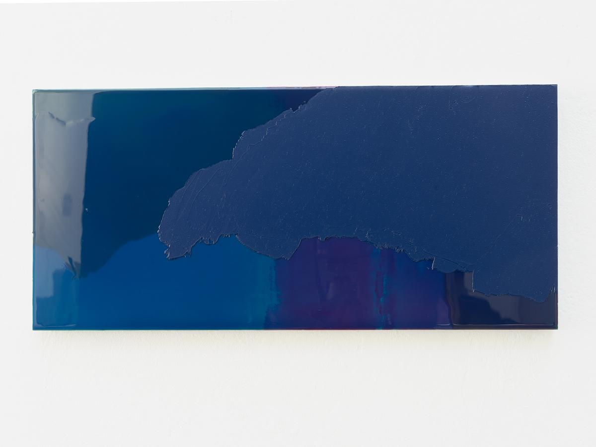 Raymund Kaiser, BLD-H10 (151117) 2017, Öl, Lack, MDF,  23,2 x 49,6 cm