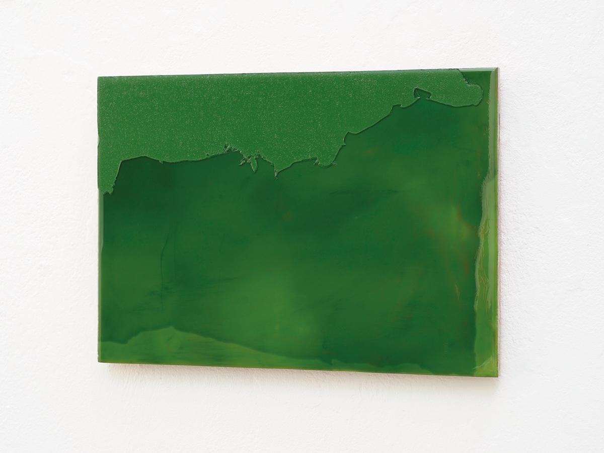 Raymund Kaiser, GRÜ-H9 (051117) 2017  Öl, Lack, MDF 22 x 31 cm