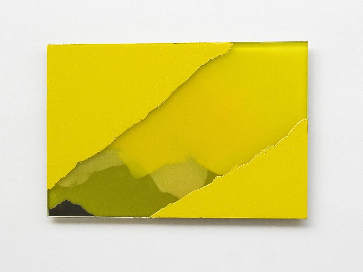 Raymund Kaiser, GE-GSP5 (161118) 2018; Öl, Lack, Glasspiegel, 20 x 30 cm