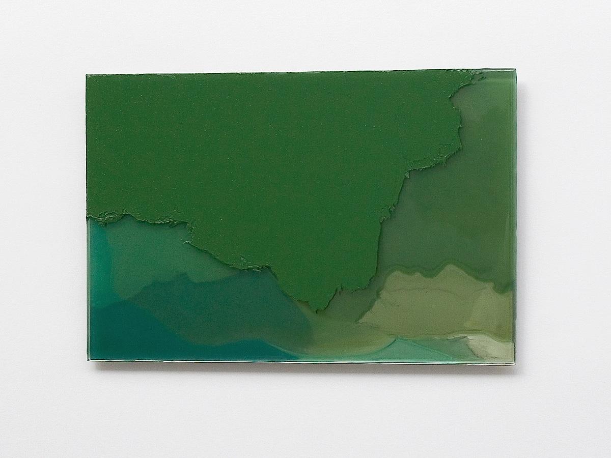 Raymund Kaiser, GRÜ-GSP4 (271018) 2018; Öl, Lack, Glasspiegel, 20 x 30 cm