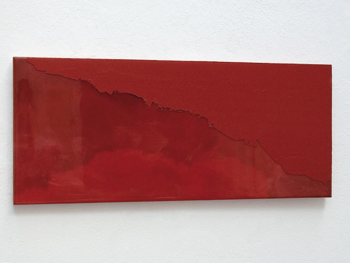 Raymund Kaiser, RO-H2 (121018) 2018; Öl, Lack, MDF, 25 x 59 cm