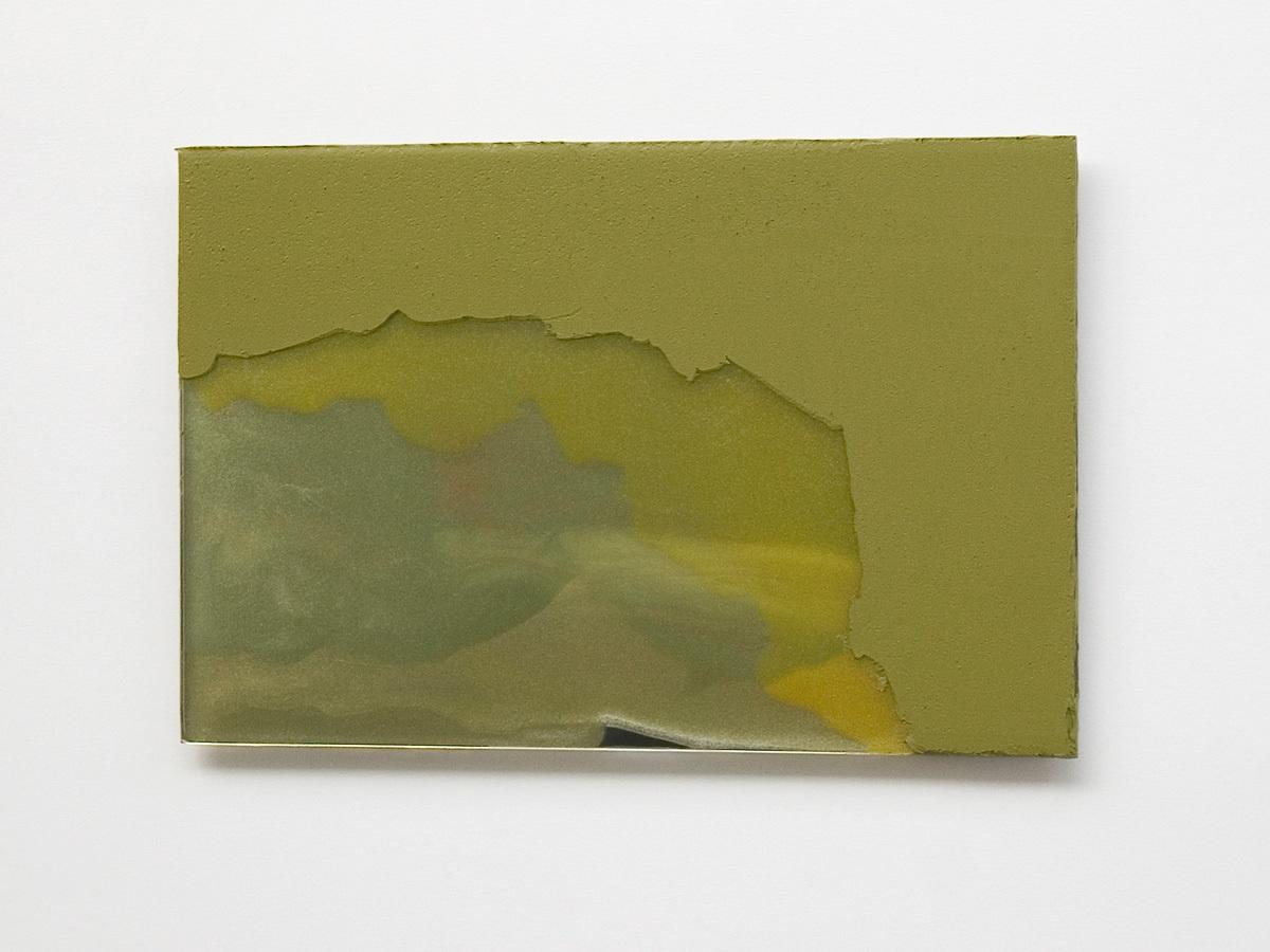Raymund Kaiser, GEGRÜ-GSP1, 2019; Öl, Lack, Glasspiegel, 20 x 30 cm