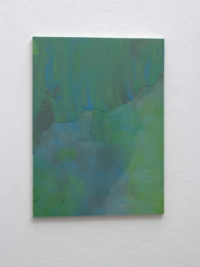 Raymund Kaiser, GRÜBLGR-H1 (300720) 2020; Öl, Lack, MDF, 70 x 52 cm
