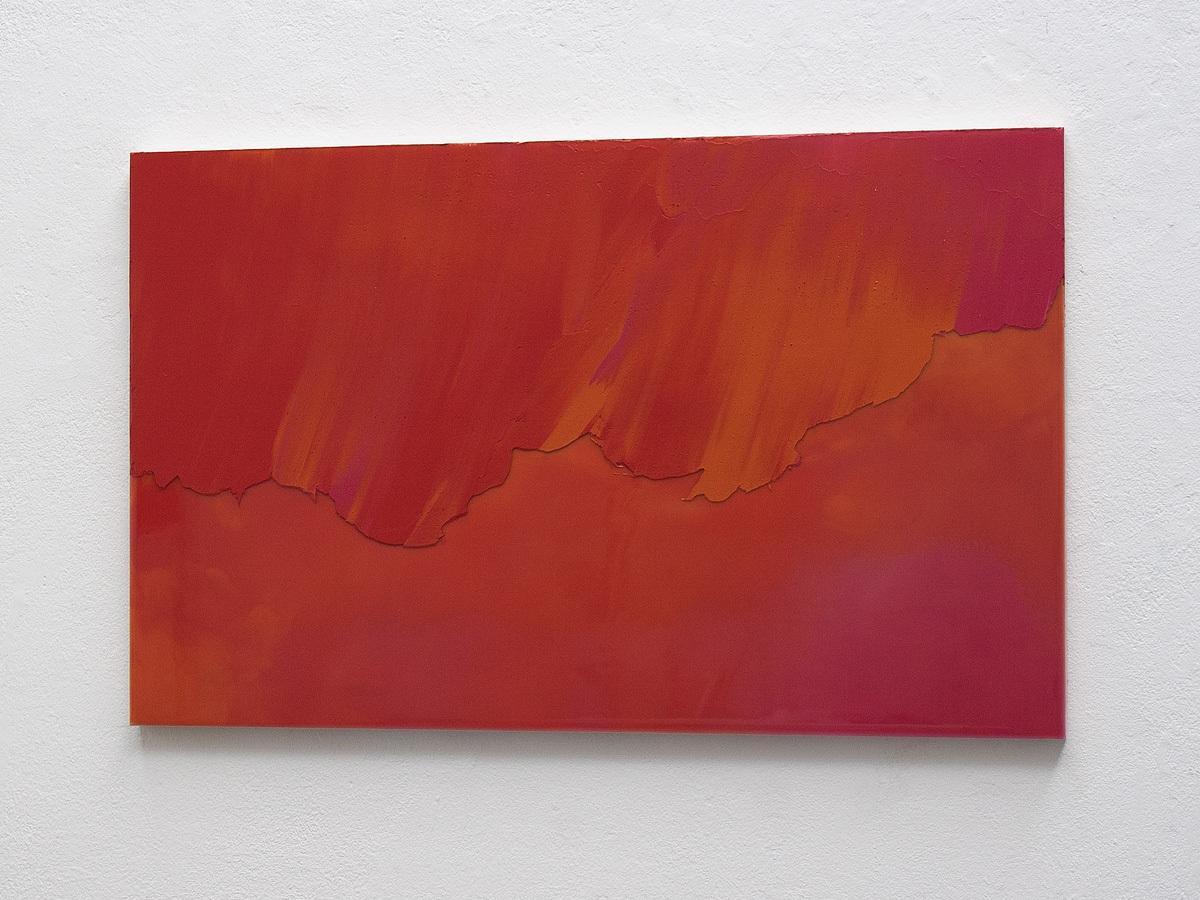 Raymund Kaiser, ROOR-H3 (270820) 2020; Öl, Lack, MDF, 38,8 x 62,4 cm