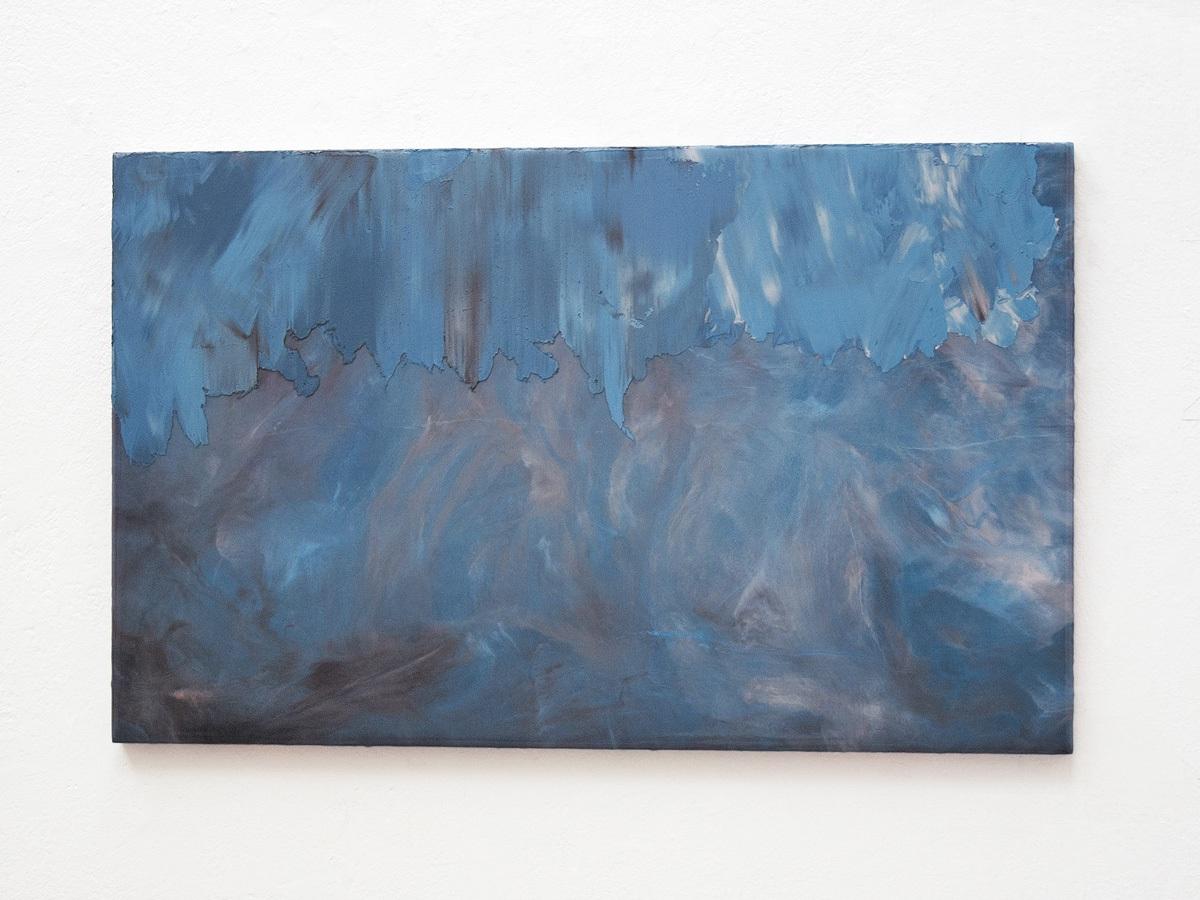 Raymund Kaiser, BL-H2, 2021; Öl, Lack, MDF, 38,8 x 62,4 cm