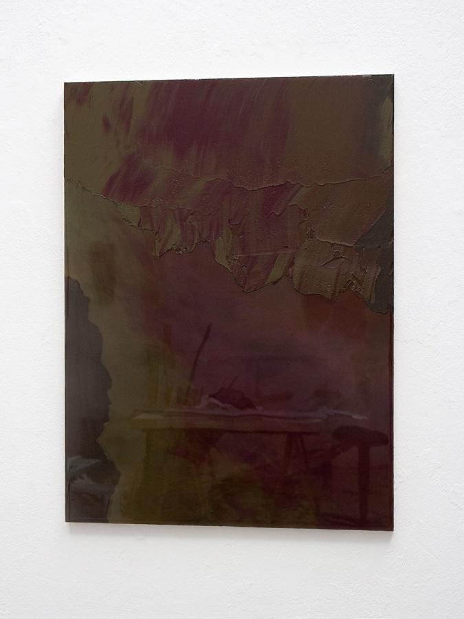 Raymund Kaiser, GRÜBR-H3, 2021; Öl, Lack, MDF, 70 x 52 cm