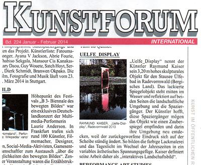 Kunstforum 224, Aktionen&Projekte Veröffentlichung zur Farbskulptur UELFE_DISPLAY im Februar 2014