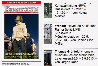 Band 223 / Kunstforum International Rezension der Ausstellung #reflect, Raymund Kaiser und Rainer Splitt, geschrieben von Sabine Elsa Müller.